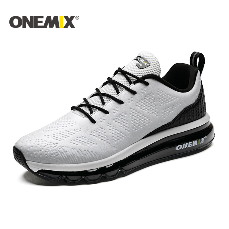 ONEMIX New Men Running Shoes Leather Runner Athletic Sneakers men Air Cushion Running Shoes Men Outdoor