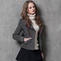 Women Wool Coats Vintage Slim Long Sleeves Short Coat Winter New Europe Fashion Warm Thicken Pockets