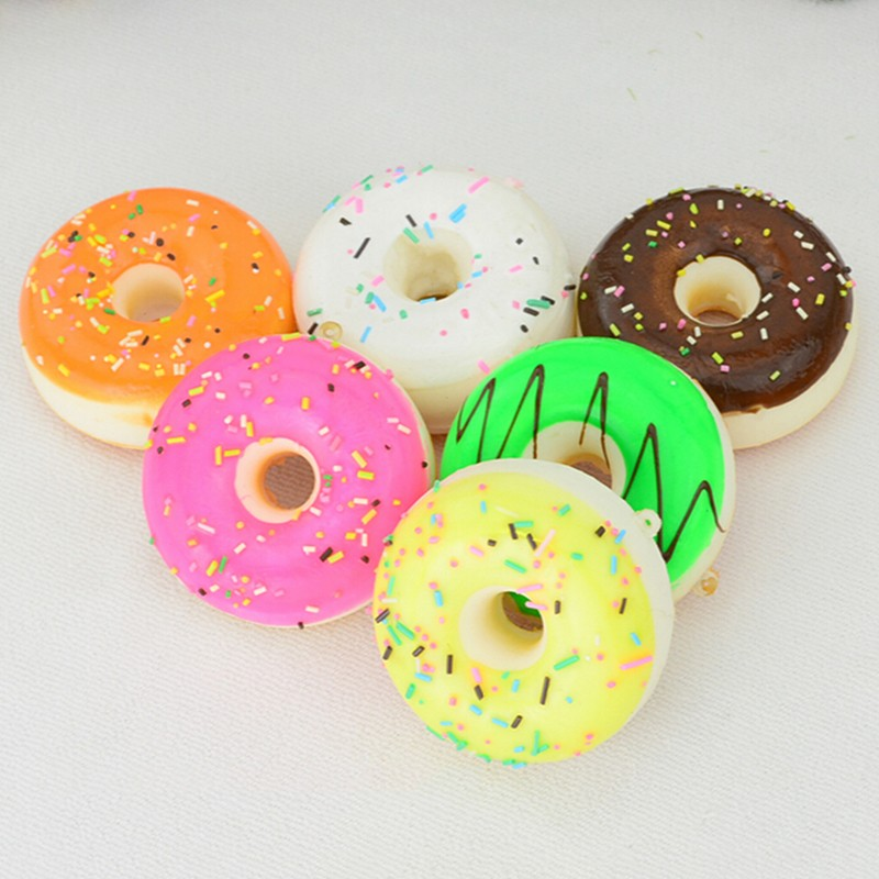Multi Styles Anti Stress Coffee Cup/Panda/Milk Box Slow Rising Squishy Donut Chocolate Noodles Roll Phone Charms Straps