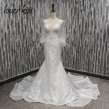 Lover Kiss Vestido De Noiva Sexy Deep V Mermaid Wedding Dress Bohemian  Backless Lace Bridal Gowns Weddings 2019 robe de mariage e0d94c81db38
