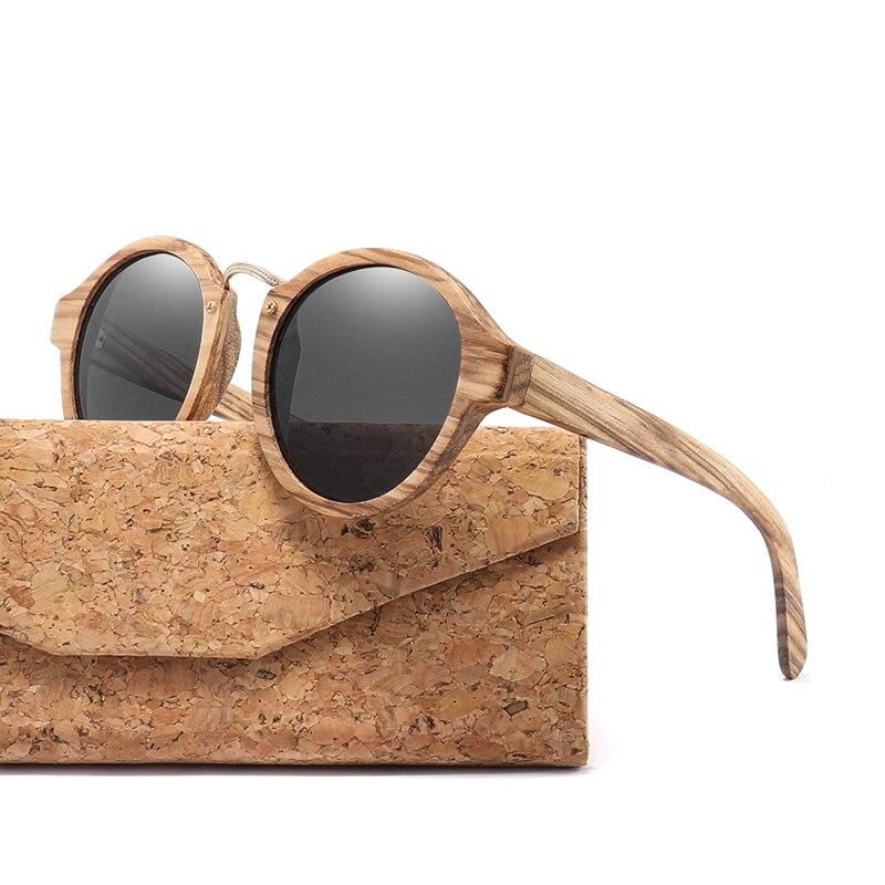 2019 Madeira Zebra Óculos De Sol Para Homens Mulheres Retro Rodada Óculos de Sol Polarized Lens UV400 com Caso