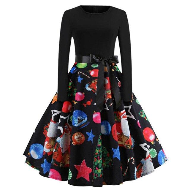 2f0f9fa2abe1e US $6.3 30% OFF|Aliexpress.com : Buy Elegant Women's Winter Dress Hot Sale  Vintage Print Long Sleeve Christmas Evening Party Swing Dress Vestido ...