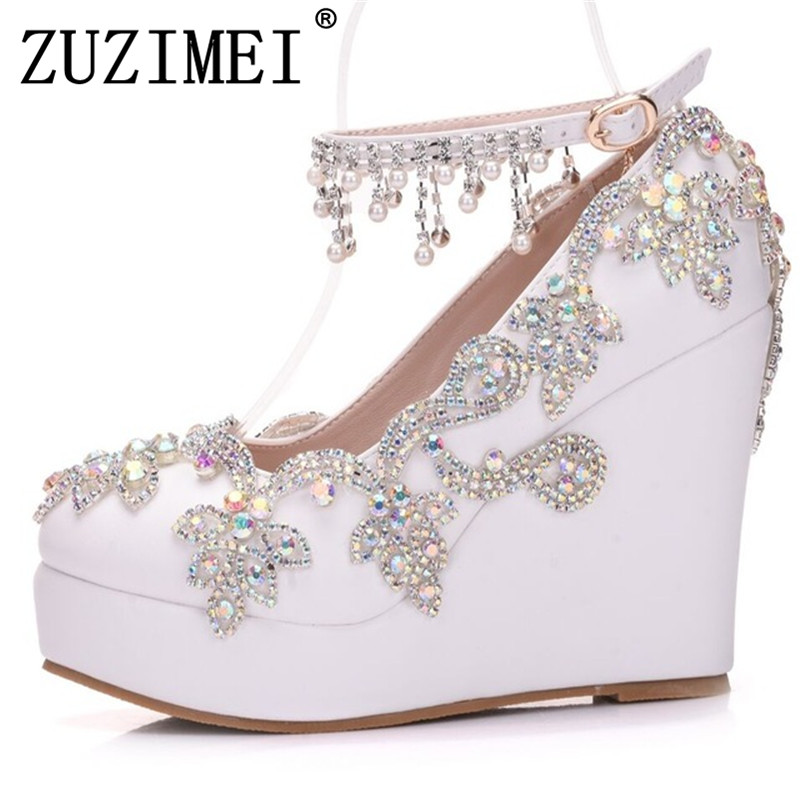 New Fashion Rhinestone Wedges Pumps Shoes Women Sweet Luxury Platform Wedges Shoes Wedding heels High Heels shoes women high heels sexy wedges platforms glitter diamond shoes wedding shoes rhinestone heels party shoes pumps