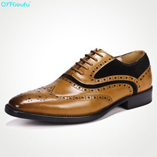 Two Tone Men Formal Brogue Shoes Luxury Dress Shoes Genuine Leather High Quality Cow Leather Retro Oxford Shoes