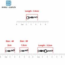 Easy Catch 200pcs Matte Black Carp Fishing Quick Change Swivels Long Body Rolling Swivels Snap Carp Fishing Accessories