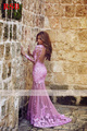 New Designer Luxury Long Sleeve Appliques Sexy Lace Mermaid Prom Dress 2016 Elegant Scoop Neck Full Vestidos De Fiesta Plus Size