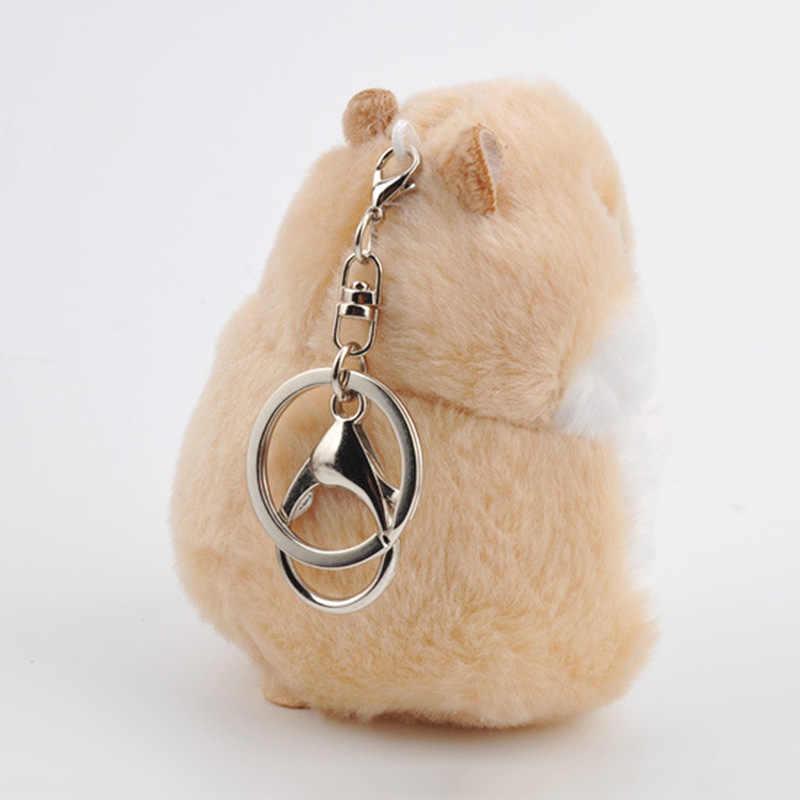 Nova Hamster Chaveiros Bugigangas Do Falso Pele De Coelho Pompom Fofo Bolsa Pingente Chian Chave Anel Titular da Chave do Carro Anel