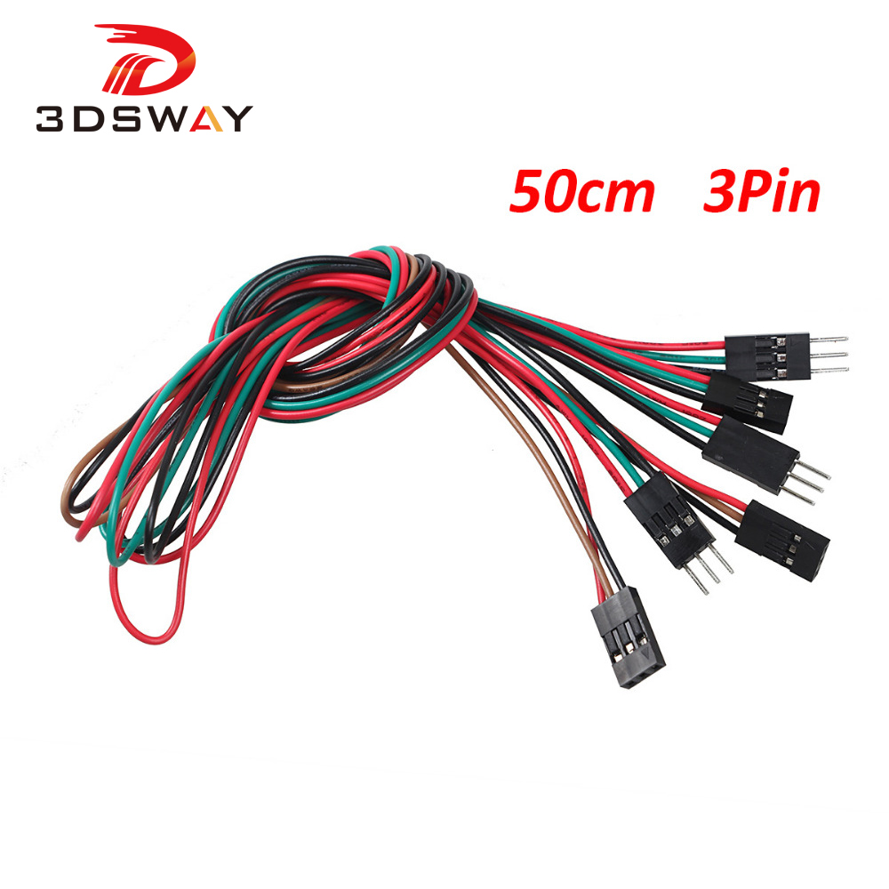 3DSWAY 20pcs/lot 50cm 3pin Breadboard Jumper Wires Cables M-M M-F F-F 2.54mm DuPont Cable Line DIY Electronic Component