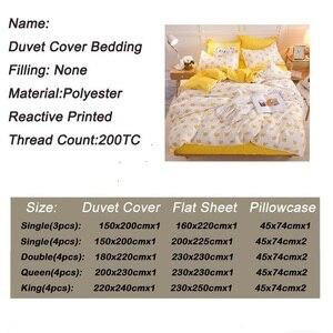 Image 2 - Bonenjoy黄色の王冠シングルベッドセット反応性プリントシンプルなダブルベッドシートropaデcama女王ベッドリネンキングサイズ寝具
