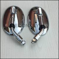 10mm Aluminum Alloy Chrome Oval Custom Rearview Mirror Motorcycle Rear View Mirrors For GN Motorcycle