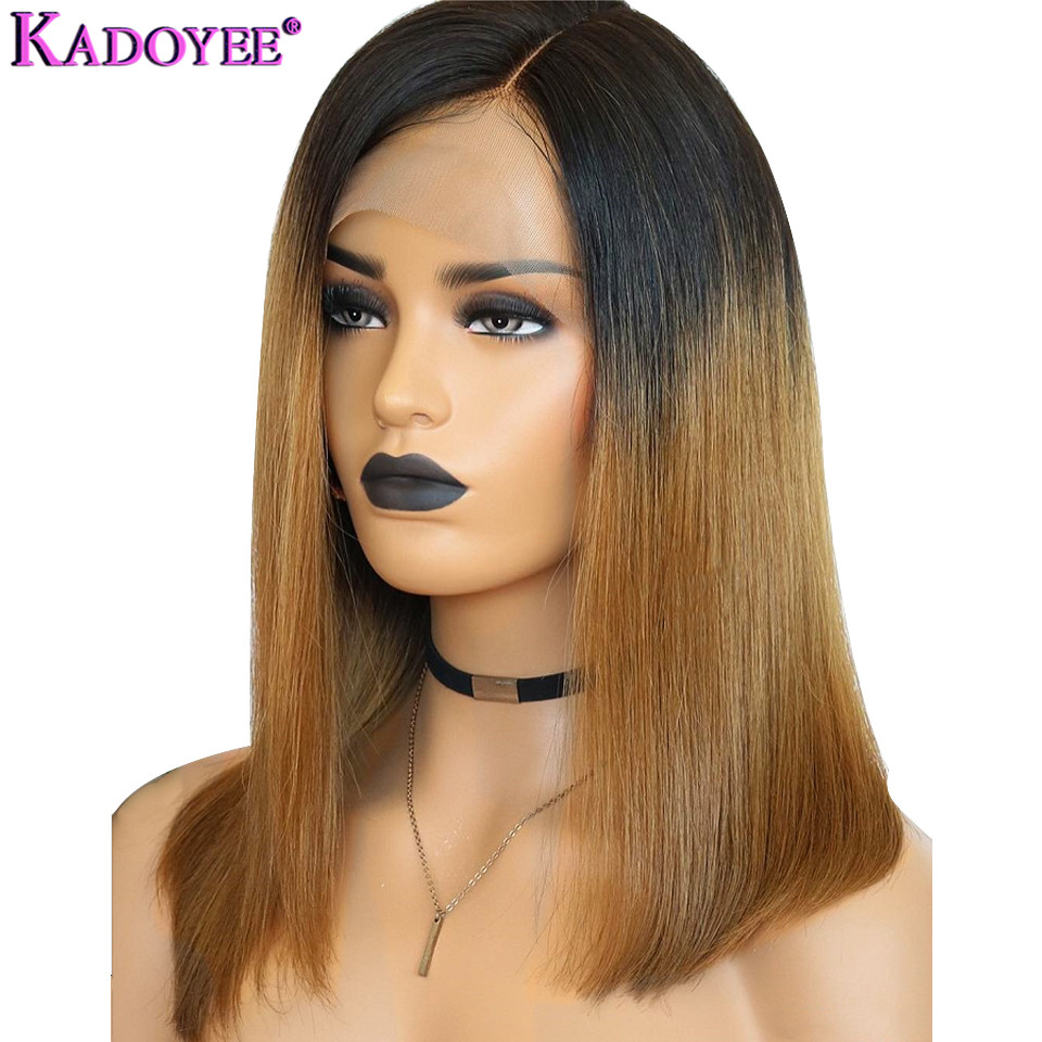 Brazilian Hair Lace Front Human Hair Wigs Straight Short Wig Pre Plucked Remy Ombre Wig Side