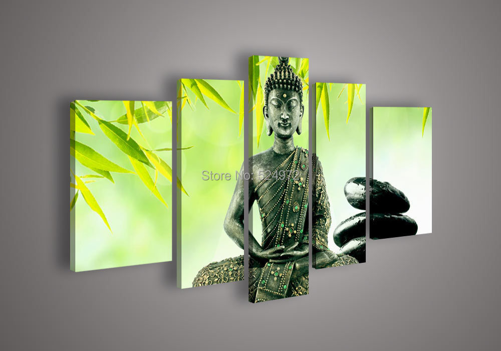Free Shipping Hand Painted Modern Home Decor Abstract Wall Art Picture Buddha Statue Leaves Light Green Oil Painting On Canvas In Painting Calligraphy