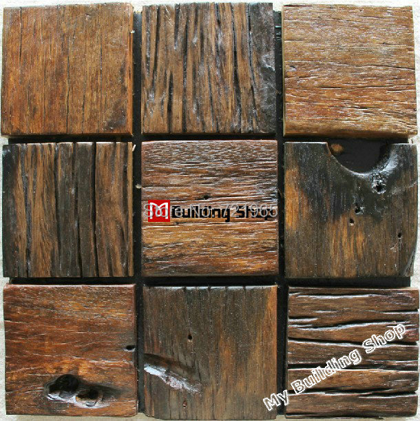 Wood Tile Kitchen Backsplash: Natural Wood Mosaic Tile Rustic Wood Wall Tiles NWMT012