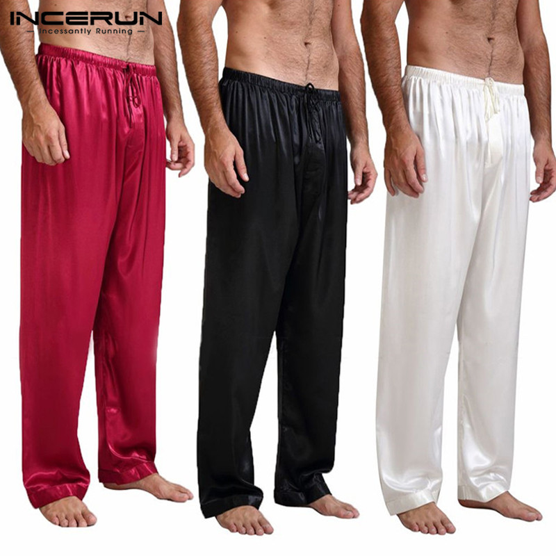 INCERUN Mens Silk Satin Pajamas Lounge Pants Loose Casual Sleep Bottoms Plus Size S-3XL Hot Sale Pyjamas Comfortable Pants 2019