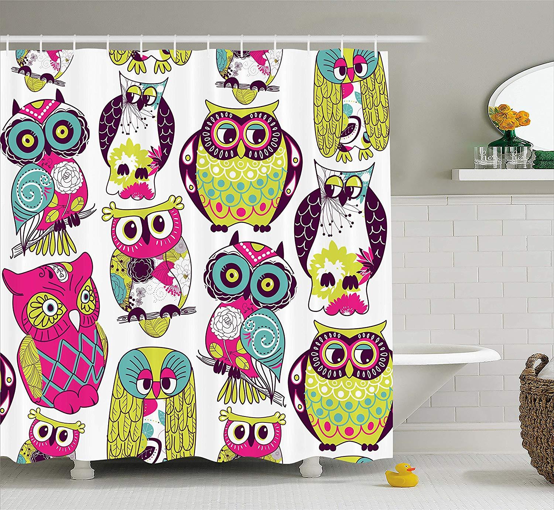 Bathroom Decor Owls: Kids Bathroom Shower Curtain Owl Decor Owls Eyes With