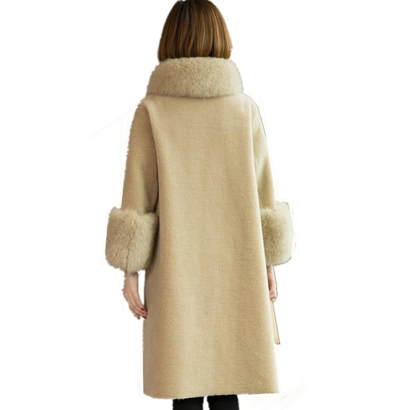 Mode Renard white Femmes Long Tondus D'hiver En blue Lâche Manteau 2018 Lc325 Fourrure De gray Mouton Peau Col Nouveau red À Taille Laine Solide Vêtements Chaud Grande Beige t6q5wxAF