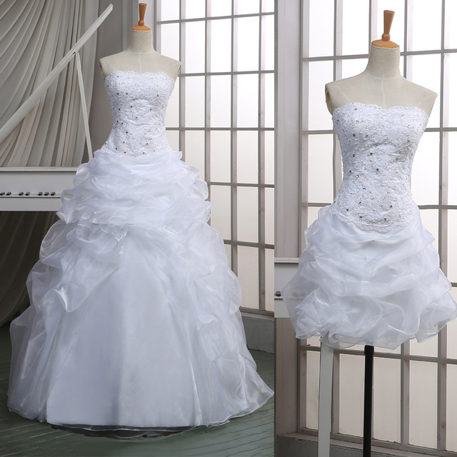 Saudi Arabic Two in One Wedding Dresses Stunning Crystal Ruched ...