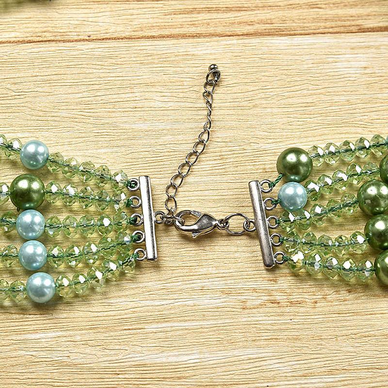 5 hàng xanh kích thước bánh kẹo bead và Màu Xanh Lá Cây hạt đá quý là nhiều Thủy Tinh pha lê và Tổng Hợp lớp ngọc trai vòng cổ, đơn giản
