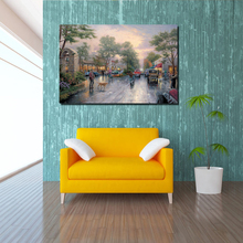 Thomas Kinkade Sunset On Avenue Canvas Painting Print Living Room Home Decoration Artwork Modern Wall Art Oil Posters