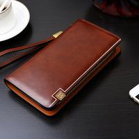 High Quality Men PU Leather   Wallet   Men's Long Cellphone   Wallet   Male Zipper Clutch Money Purse Large Capacity Card Holder   Wallet