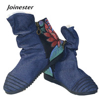 Vintage And Fashion Cotton Fabric Ankle Boots Berber Fleece Lining Internal Height Increasing Warm Winter Women