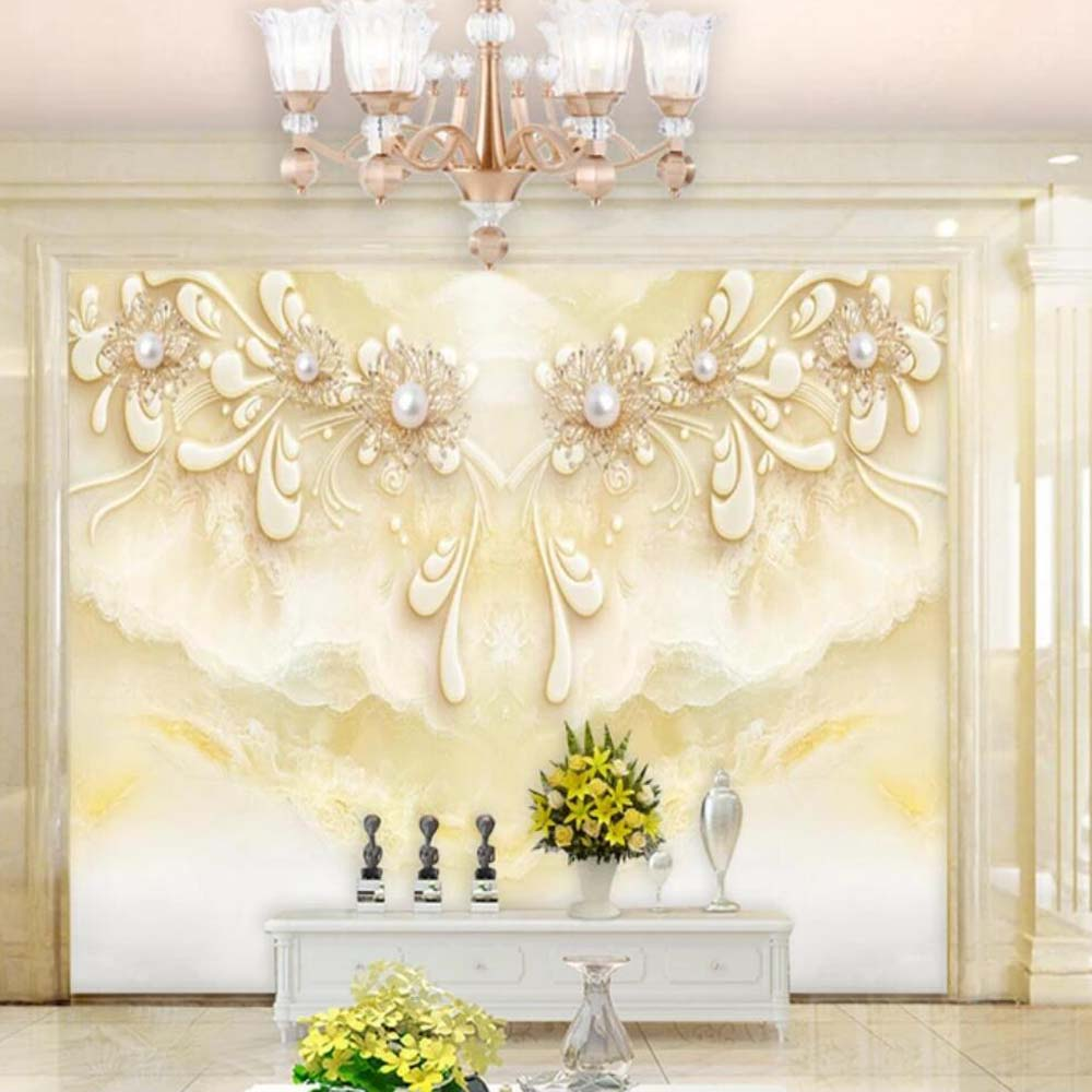 European Luxury Jewelry Flower Marble Contact Wallpaper Photo Mural For Living Room Wall Decor Custom Size 3d Wall Paper Roll