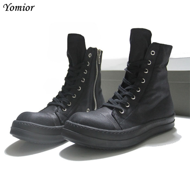 Yomior Men Boots Spring/Autumn Ankle Boots Fashion Unisex Lace-Up Shoes Men High Quality Vintage Men Casual Big Size Boots xiaguocai spring autumn high top men shoes fashion canvas men s casual shoes lace up flat ankle boots for male