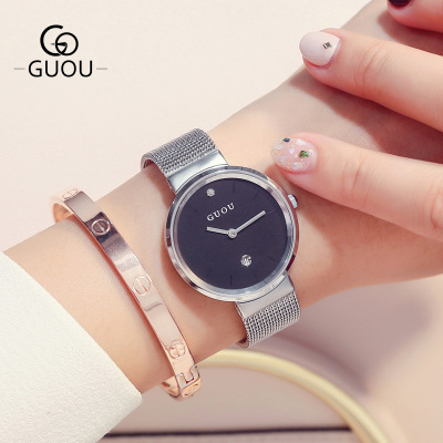 GUOU Watches 2018 New Couple watch Men Women Luxury Brand Casual Quartz Watch reloj mujer Stainless Steel Mesh Band Wrist Watch new fashion full stainless steel silver web band dress quartz wrist watch wristwatches for men women lovers couple