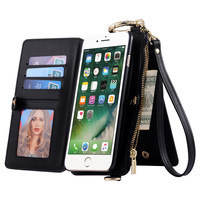 11 card slots Multi function Leather Flip Phone case wallet for iphone7/7plus 6 6s plus Hoop Strap clutch bag purse handbag