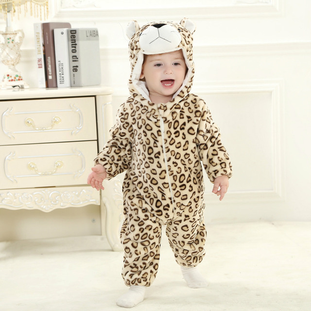 9827fba30 Infant Romper Baby Boys Girls Jumpsuit New Born Clothing Hooded Toddler  Baby Clothes Cute Leopard Romper Baby Costumes