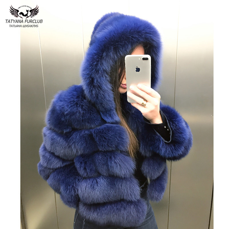 Tatyana Furclub Real Fur Coat Female Fox Fur Jacket With Hood Whole Skin Natural Real Fox Fur Coat Women Winter Luxury Fur Coat
