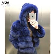 Tatyana Furclub リアルファーコート女性フォックスファージャケットフード皮膚全体ナチュラルリアルフォックスファーコート女性の冬高級毛皮のコート