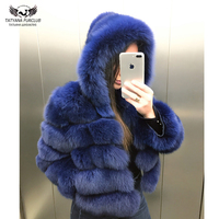 Tatyana Furclub Real Fur Coat Female Fox Fur Jacket With Hood Whole Skin Natural Real Fox Fur Coat Women Winter Luxury Fur Coat