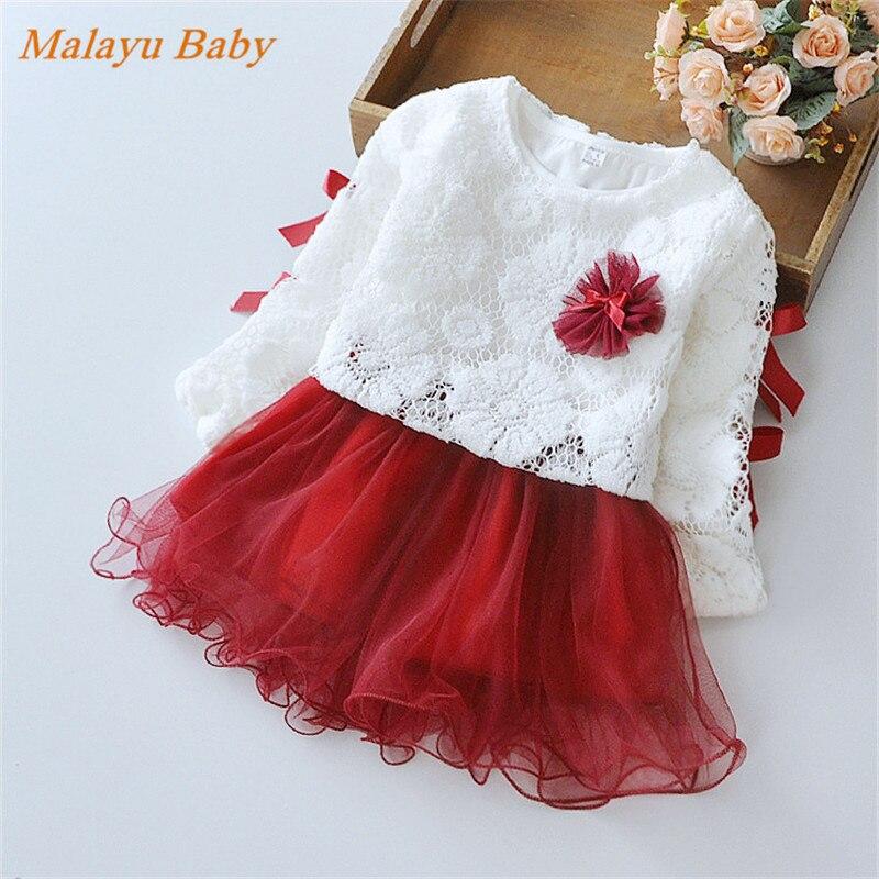 Malayu Baby Europe & United States style 2017 spring new baby stitching lace dress fashion up to people net yarn Peng Peng dress