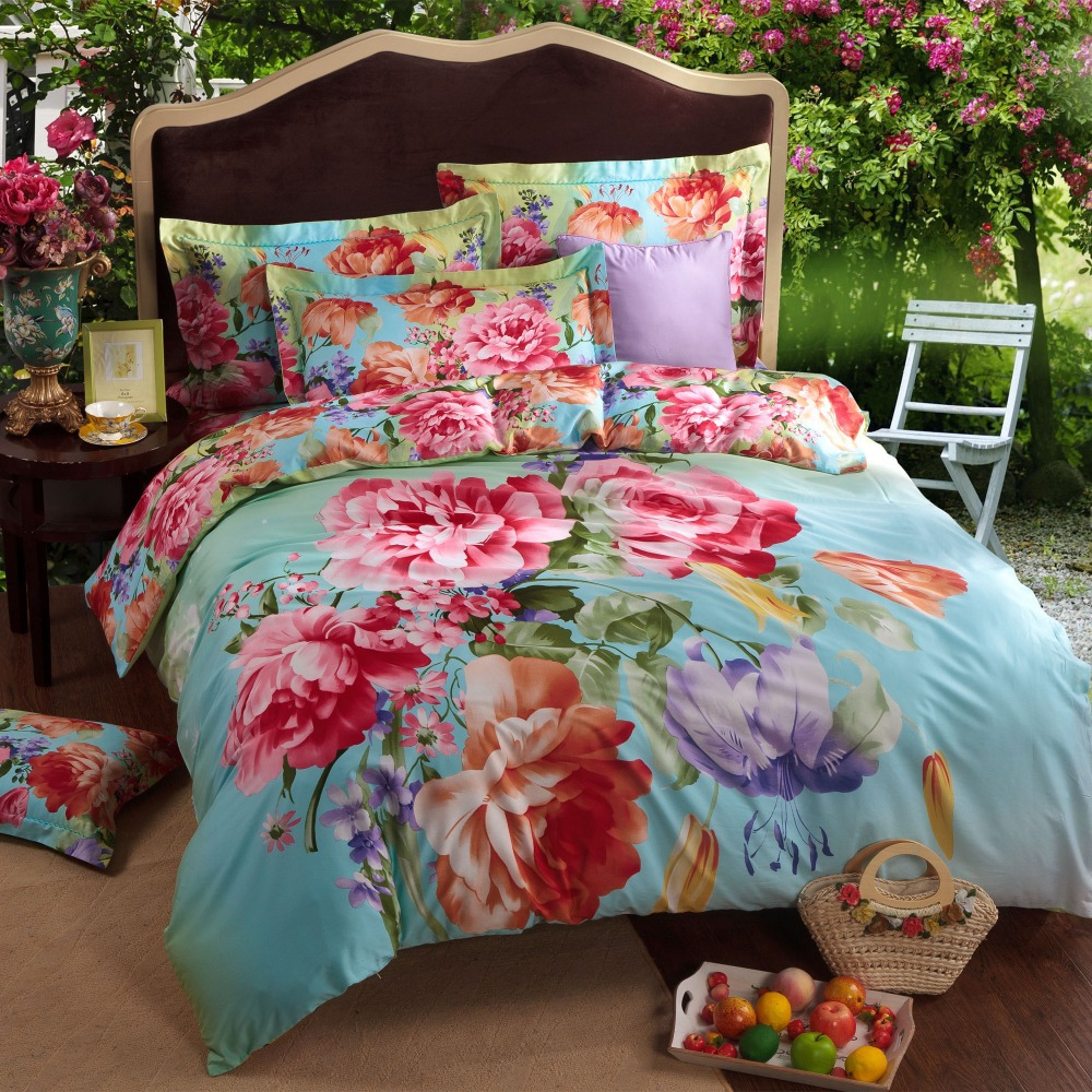 Wholesale Fashion Colorful Big Flower Blue Queen King Size