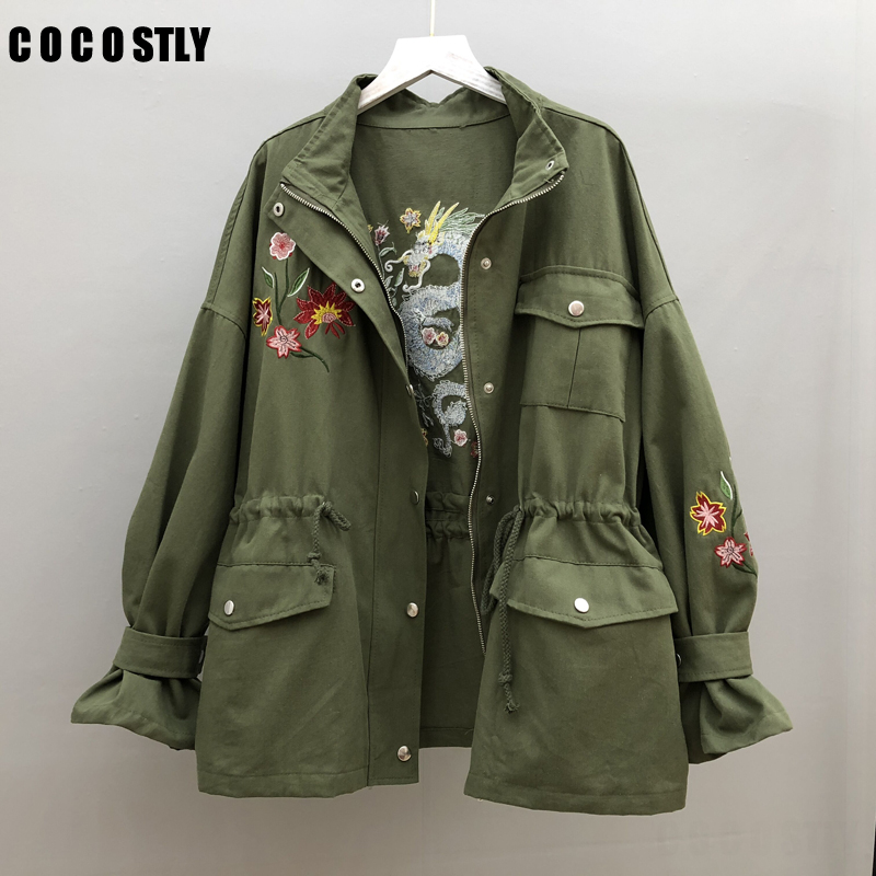 British Style Army Green Medium   Trench   Coat For Women Overcoat Embroidery Outerwear Autumn Female Coat Windbreaker designer