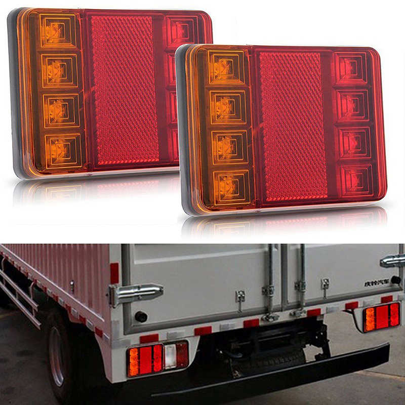 1Pc Car Truck LED Rear Tail Light Warning Lights Rear Lamps Waterproof Tailight Parts for Trailer Caravans DC 12V
