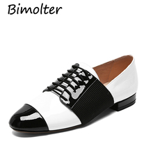 Bimolter New Arrival Flats Patent Leather Patchwork Lace-up Shoes Femal Fashion Loafers Genuine Casual Footwear NB015