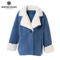 PALÁCIO de INVERNO 2019 Nova Moda Casaco de Lã das Mulheres Solto Correspondência de Cores Jaqueta casaco de Lã de Inverno Casaco de Pele Morno Múltipla cor