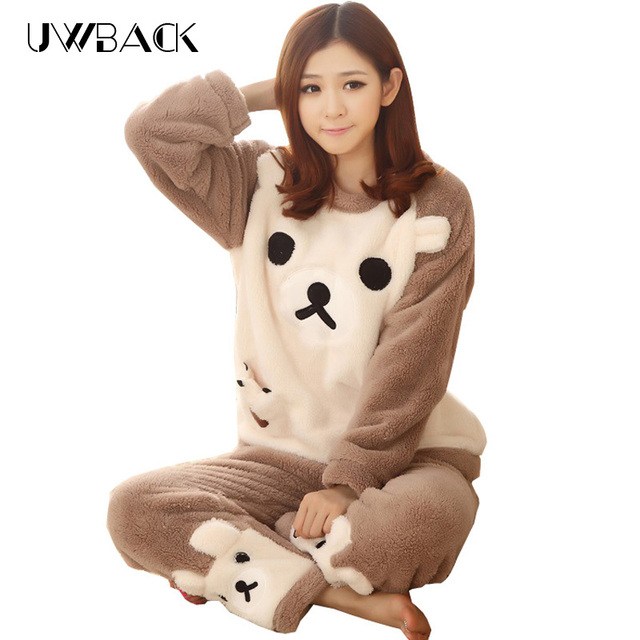 Uwback 2017 winter pijama women flannel animal pajama sets female sleepwear plus size 2xl coral fleece pijamas mujer TB831