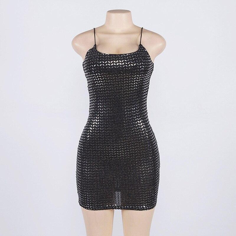 Forefair Summer Mini Sequin Dress Clubwear Party Black Off Shoulder (7)