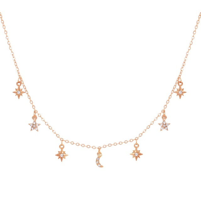 New fashion trendy jewelry moon star choker necklace gift for women girl N2096 4