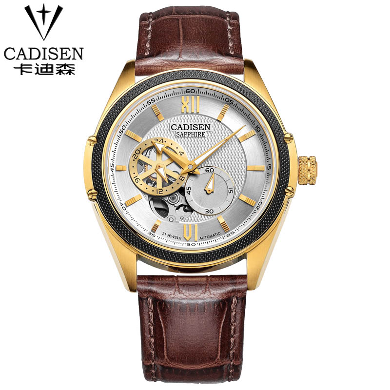 New Fashion Luxury Brand CADISEN Men Watch Automatic Mechanical Watches Hollow Men Tourbillon Mechanical Watch brand 2017