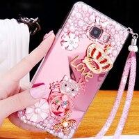 الفاخرة فتاة امرأة سيدة حزام حبل اليدوية الماس مرآة بلينغ الهاتف قضية غطاء ل meizu MX6 x Note5 note3 5 ثانية ذهب فضة الوردي
