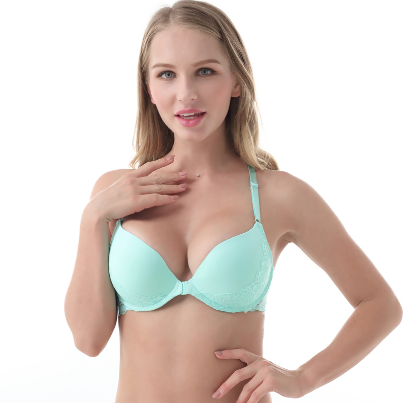 MiaoErSiDai <font><b>Sexy</b></font> Front Closure Y-line Lace Bras for Women Seamless Push Up Bra <font><b>Girls</b></font> <font><b>Sexy</b></font> Underwear 32-40 A/<font><b>B</b></font>/C/<font><b>D</b></font>/DD image