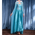 2016 New Design Christmas Women Princess Fancy Cosplay ELSA Dress Evening Adult Costumes UK Elsa Long Gown Costume