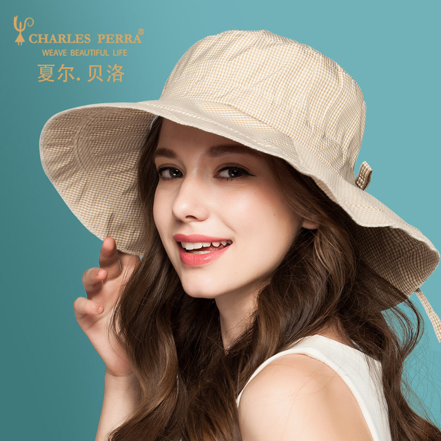 Lady Fashion Sun Hat Wide Brim Female Summer New Beach Cap Female Korean Style Travel Sun Cap Folding Beach Cap B-4887