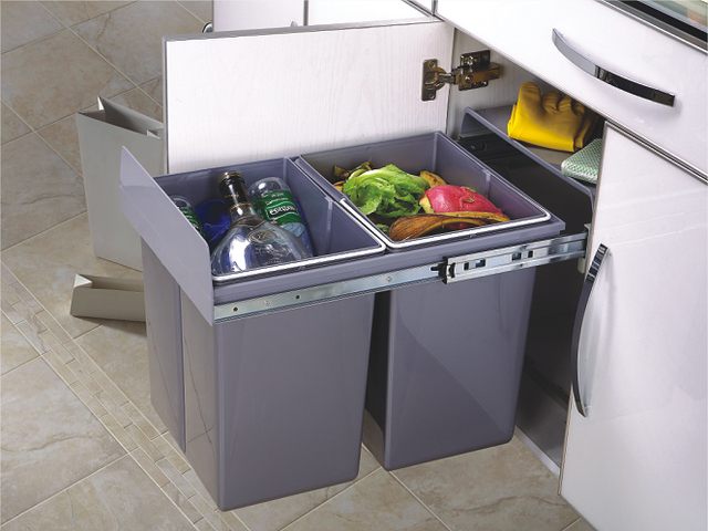 2 20l soft close pull out dustbin recycle trash bin waste container bottom mounted kitchen sink - Ikea pull out trash bin ...