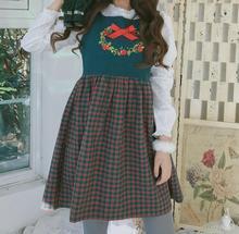 Вельвет цветочные лук вышивка лоскутное плед о-образным вырезом Без Рукавов танк doll dress мори девушка 2017
