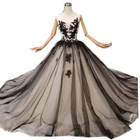 H&S Bridal Vintage wedding dress black ball gown Forest wedding dresses 2019 with veil bridal Gown Vestidos